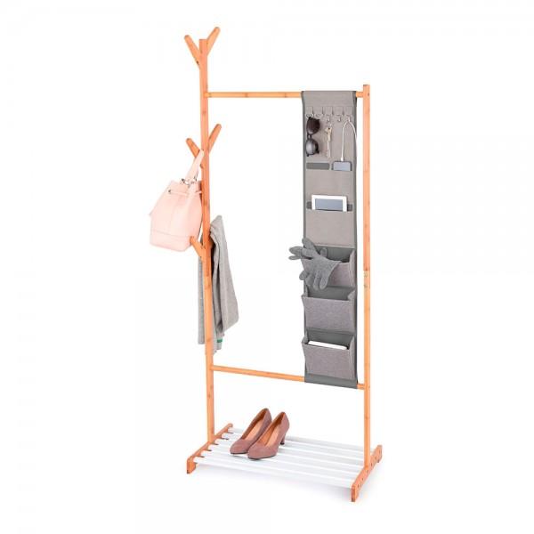 Colgador bambú con organizador y repisa para zapatos 167x65x38cm jobgar